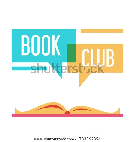 Colorful logo for book club vector isolated. Read books together. Simple style, flat design of logotype. Education concept. Photo stock ©