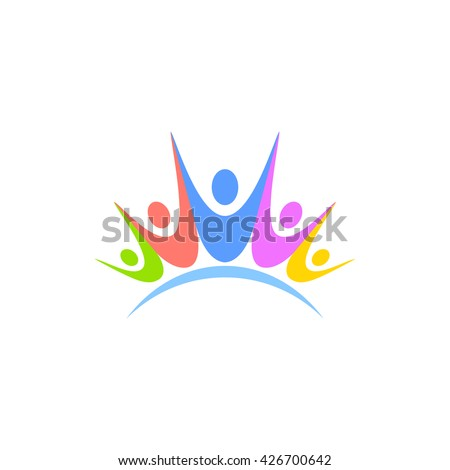 colorful logo of people holding