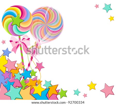 colorful lollipop with pink ribbon and stars - stock vector