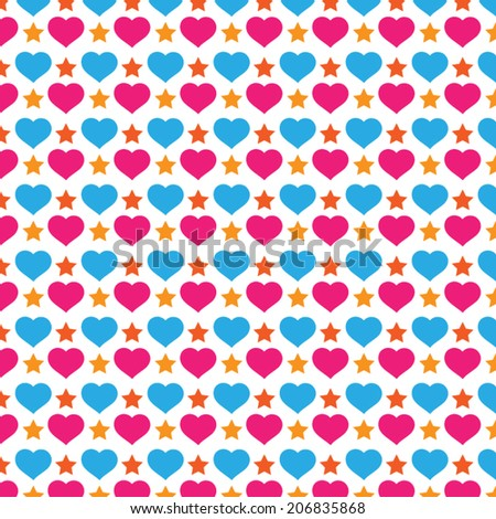 Colorful Love And Star Background Pattern