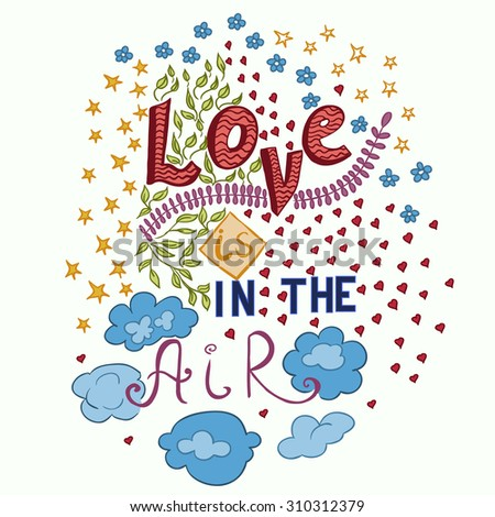 colorful love doodle phrase
