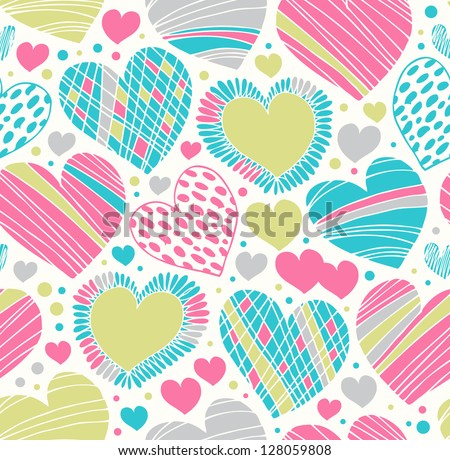 Colorful love ornamental pattern with hearts. Seamless scribble background. Creative fabric texture with many details