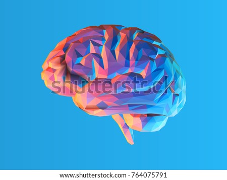 Colorful low poly side view brain illustration isolated on blue background