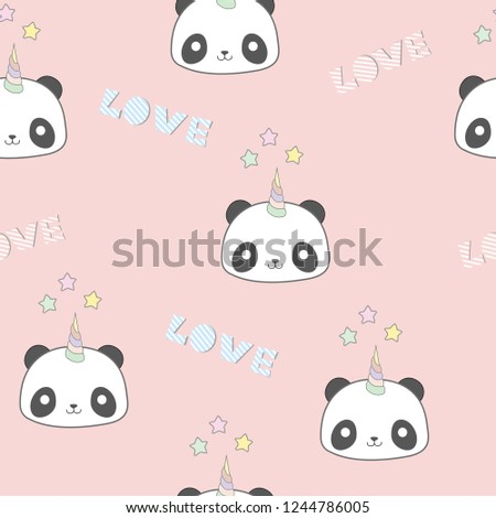 colorful magic cute unicorn panda with love on pink background.
