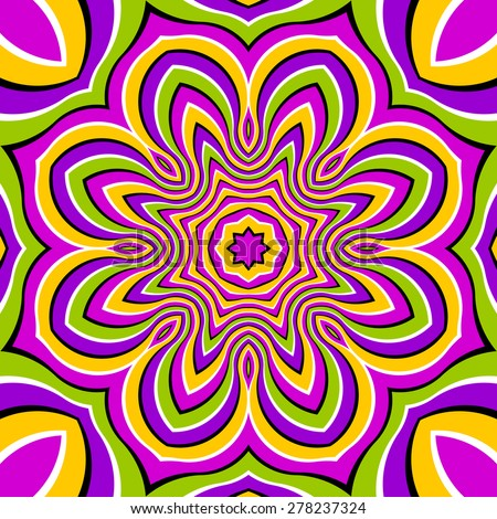 Colorful magic flower (motion illusion)