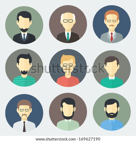 Colorful Male Faces Circle Icons Set in Trendy Flat Style