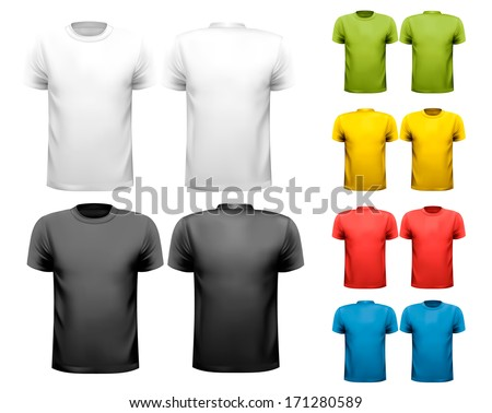 Colorful male t-shirts. Design template. Vector. Zdjęcia stock ©