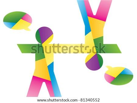colorful man speech bubble vector eps8