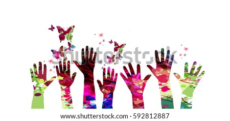 colorful many human hands with