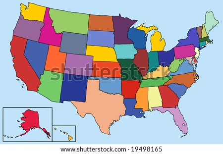 Colorful map for the USA