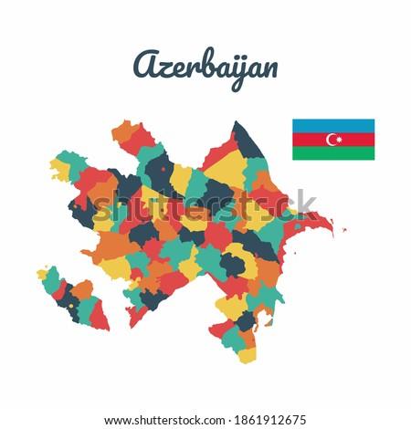 Colorful map of Azerbaijan, Flag Of Azerbaijan, Vector Infographic Map Eps 10