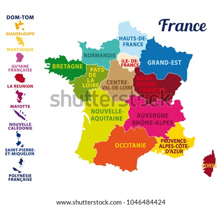 colorful map of france with