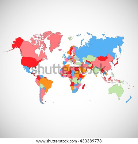 Colorful map of the world. Vector illustration. #430389778