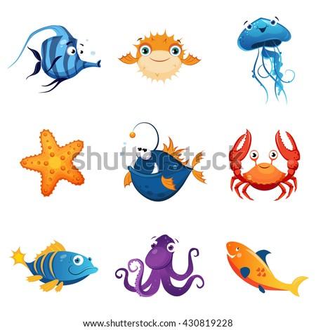 colorful marine animals set of