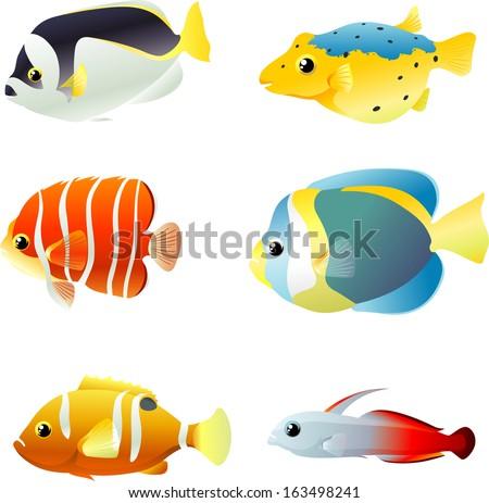 colorful marine fish set