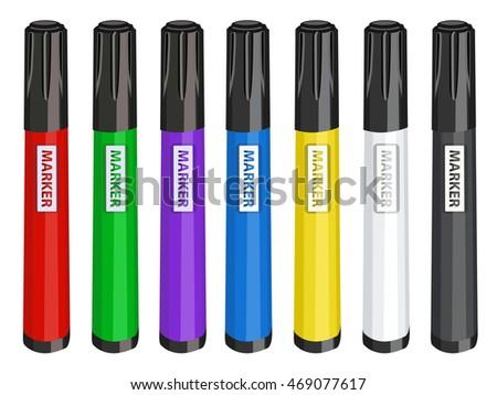Colorful markers set vector illustration. Isolated on white markers set. Realistic markers set for design.