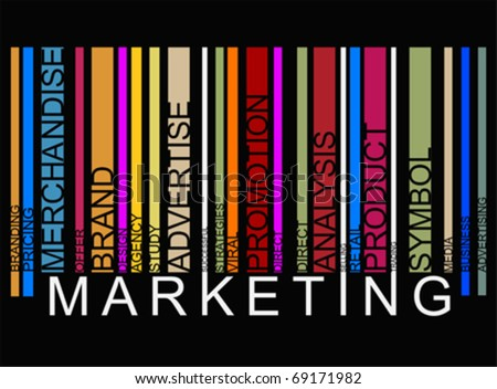 colorful  MARKETING text barcode, vector