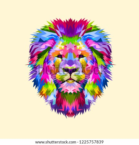 Colorful mascot head lion on pop art style