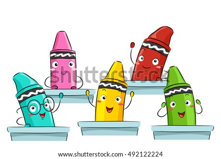 colorful mascot illustration featuring primary color crayons attending class together - Cartoon Pictures Of Crayons