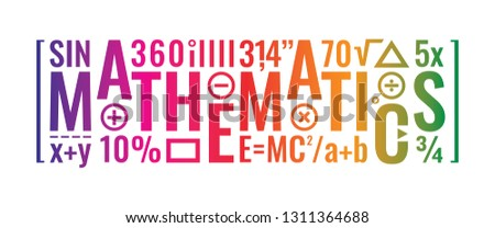 colorful mathematics word and mathematical symbols design