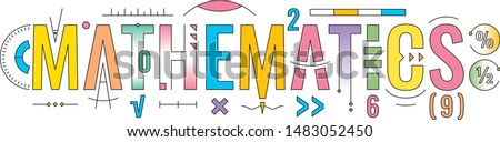 colorful mathematics word concept. technical drawing mathematics word. mathematics word  white background