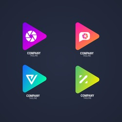 Colorful media player logo in gradient style. play button logo set. video player application icon