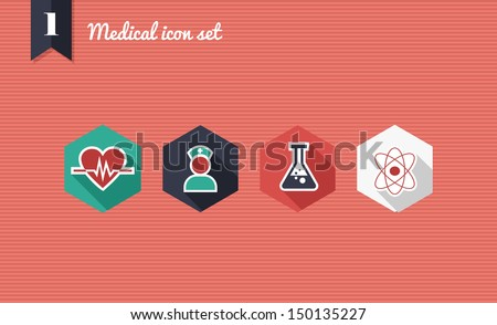 Colorful medical health flat icon set, online app for illness assistance. Vector file layered for easy editing.