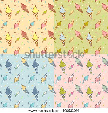 Colorful melting ice-cream seamless pattern confetti