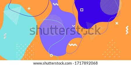 Colorful Memphis Cover. Vector Geometric Decoration. Futuristic Liquid Backdrop. Purple Flow Template. Memphis Page. Business Abstract Presentation. Bright Graphic Memphis Banner.