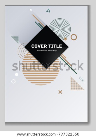Colorful memphis design placard background with white and shapes. Cool memphis texture placard page. Front page backdrop for personal notebook, dairy or notepad.