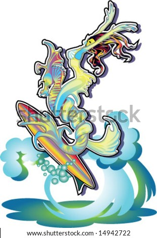 colorful mermaid riding