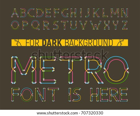 Colorful metro styled font for dark background. Great for logo, invitation, card, product packaging, header, logotype, poster, label, banner and etc.