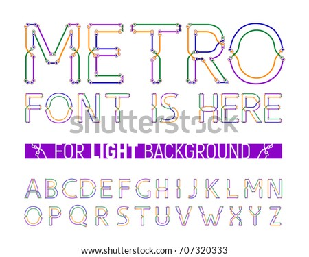Colorful metro styled font for light background. Great for logo, invitation, card, product packaging, header, logotype, poster, label, banner and etc.