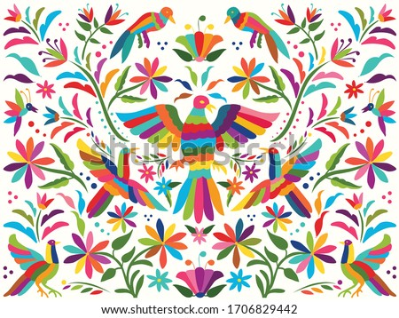 Colorful Mexican Traditional Textile Embroidery Style from Tenango, Hidalgo; México – Copy Space Floral Composition with Birds