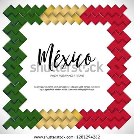 Colorful Mexican Vectorized Palm Weaving Composition – Copy Space