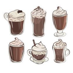 Colorful milkshake design. Cute chocolate milkshakes. Set of refreshing summer drinks. Cupcake, milkshakes, ice cream and hot chocolate.