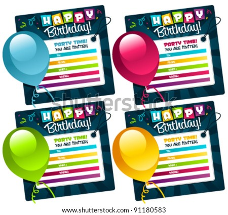Colorful Mini Birthday Invitation Cards. Stock Vector 9