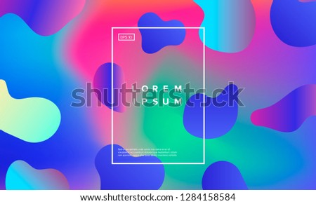 Colorful minimalistic geometric background with composition of fluid shapes in neon trendy pastel colors: electric pink, bright blue, cyan, magenta, Memphis aesthetics, retrofuturistic eclectic style. #1284158584