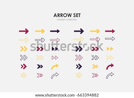 Colorful Modern Arrow Set Vector.