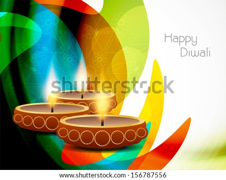 colorful modern background design for diwali festival with beautiful lamps vector illustration