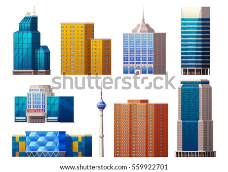Colorful modern buildings set of different construction exterior and architecture isolated vector illustration