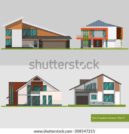 Colorful modern flat residential houses stock vector for Modern house logo