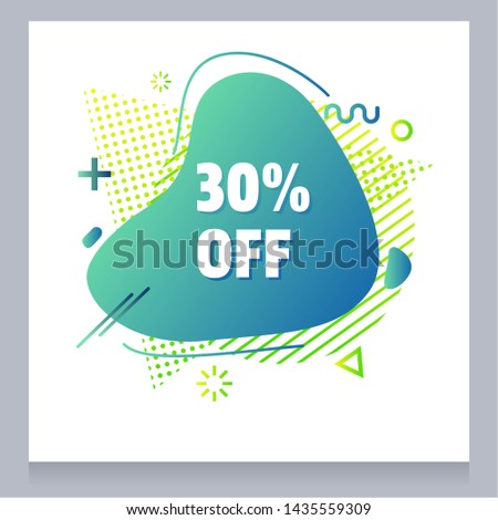 Colorful modern liquid abstract special offer price sign 30% text gradient flat style design fluid vector colorful vector illustration banner simple shape advertising big sale or clearance symbol