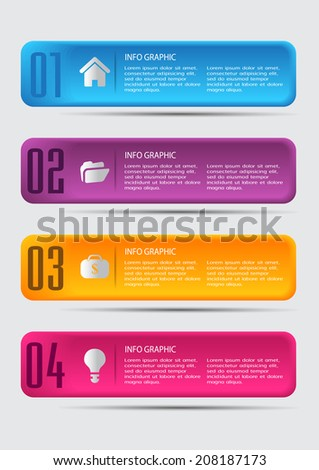 colorful modern text box for website graphic and business numbers icon