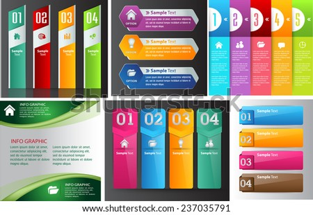 colorful modern text box template for website computer graphic and internet numbers Set of color frames for text or quotes brochure many various