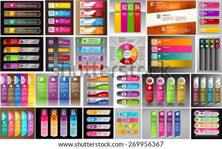 colorful modern text box template for website computer graphic technology and internet, numbers. Set of color frames for text or quotes. brochure. many, various
