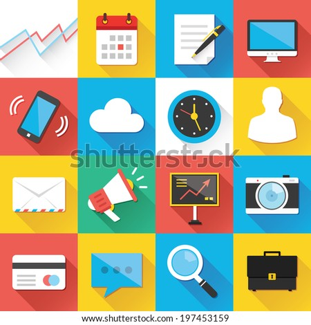 Colorful modern vector flat icons set with long shadow. Quality design illustrations, elements and concepts for web and mobile apps. Business icons, marketing icons, seo icons, interface, office etc.