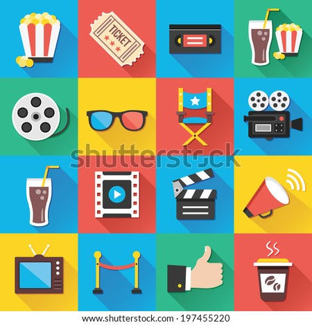 Colorful modern vector flat icons set with long shadow. Quality design illustrations, elements and concepts for web and mobile apps. Cinema icons, entertainment icons, movie production icons etc. - Shutterstock ID 197455220