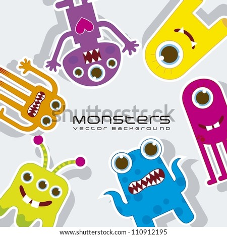 colorful monsters over gray background. vector illustration