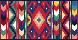 Colorful mosaic oriental kilim rug with traditional folk geometric ornament. Vector 10 EPS illustration.